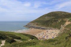 Взгляд пляжа Mwnt Стоковое фото RF