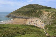 Взгляд пляжа Mwnt Стоковая Фотография RF