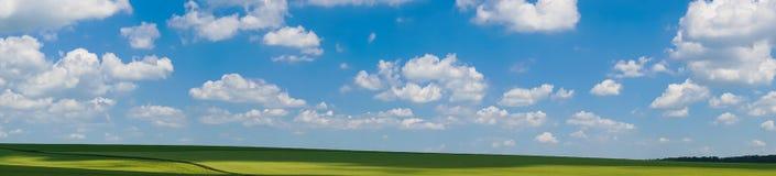 Взгляд поля ландшафта панорамы красивый стоковое изображение rf
