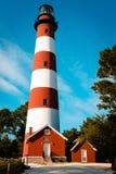 Взгляд портрета маяка на острове Assateague в Вирджинии Стоковые Фотографии RF