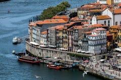 Взгляд Порту и реки Дуэро от моста Dom Луис i Стоковая Фотография RF