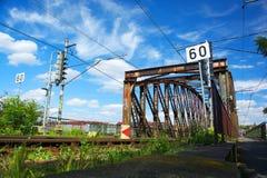 Взгляд Праги на реке Влтавы и старом железнодорожном мосте Стоковые Изображения