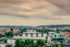 Взгляд Праги от парка Letna Стоковые Фотографии RF