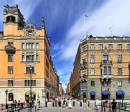 Взгляд района Стокгольма, Швеции - Norrmalm от старого квартала городка Стоковое фото RF