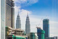 Взгляд района строительной площадки na górze зданий в Kuala Стоковые Фото