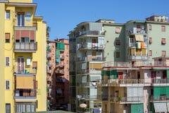 Взгляд района с красочными зданиями Torre del Greco в Италии стоковые фотографии rf