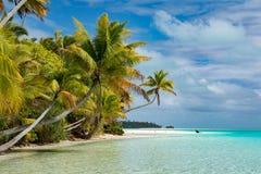 Взгляд рая Острова Кука Aitutaki полинезии тропический Стоковое Изображение