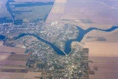 Взгляд реки от самолета стоковое изображение rf