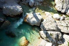 Взгляд реки Soca в национальном парке Triglav Стоковая Фотография RF