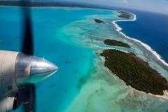 Взгляд самолета рая Острова Кука Aitutaki полинезии тропический Стоковое Фото