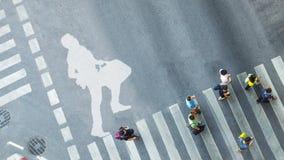 Взгляд сверху белого символа с бизнесменом бежит с портфелем o Стоковое Изображение RF