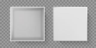 Взгляд сверху белой коробки, открытая верхняя часть крышки пакета 3D Коробка бумаги картона вектора белая, пустой пустой изолиров иллюстрация штока