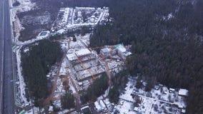 Взгляд сверху видит строительную площадку многоэтажного здания бетона армированного зажим Взгляд сверху строительной конструкции Стоковая Фотография RF