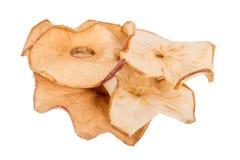 Взгляд сверху высушенных обломоков яблока изолированных на белизне Стоковые Изображения RF