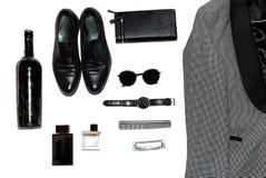 Взгляд сверху в стиле, моде, одежде и стиле людей стоковые изображения rf