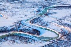 Взгляд сверху газопровода в тундре Стоковое Фото