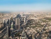 Взгляд сверху города Дубай в ОАЭ Стоковые Фото