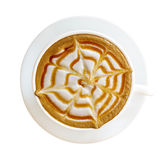 Взгляд сверху горячей изолированной чашки капучино macchiato карамельки кофе Стоковое Изображение