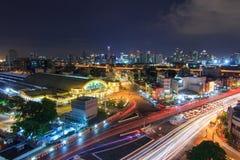 Взгляд сверху движения света нерезкости на Hua Lamphong Стоковое Фото