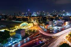 Взгляд сверху движения света нерезкости на Hua Lamphong Стоковые Изображения