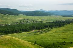 Взгляд сверху деревни, Россия Стоковое Изображение