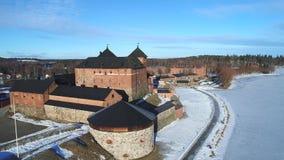 Взгляд сверху древней крепости города Hameenlinna Финляндия сток-видео