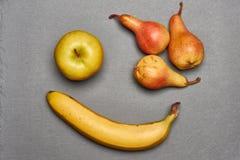 Взгляд сверху желтых яблока и банана Стоковые Фотографии RF