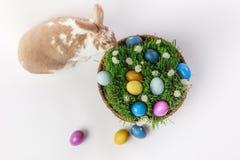 Взгляд сверху зайчика около корзины с травой и яичками Стоковые Фото