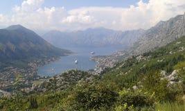 Взгляд сверху залива Kotor стоковая фотография
