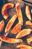 Взгляд сверху испеченных кусков тыквы Хоккаидо Стоковое фото RF