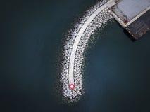 Взгляд сверху и Средиземное море гавани Стоковое Изображение