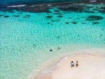 Взгляд сверху карибского острова стоковые фотографии rf