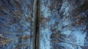 Взгляд сверху катания автомобиля в древесинах footage Автомобиль идет на дорогу зимы в древесинах Стоковое Фото
