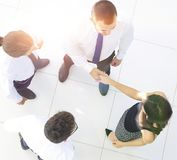 взгляд сверху команда дела обсуждая вопросы дела Стоковая Фотография RF