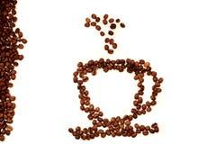 Взгляд сверху конца-вверх кружки кофейного зерна дальше стоковая фотография rf