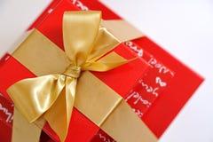 взгляд сверху коробок присутствующий красный Стоковые Фото