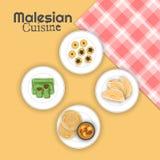 Взгляд сверху кухни Malesian с checkered салфеткой на желтом bac иллюстрация вектора