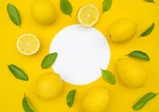 Взгляд сверху лимона и листьев на предпосылке цвета Идеи концепций стоковое изображение