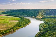 Взгляд сверху на красивом загибе реки Каньон Днестра, Великобритания Стоковые Фотографии RF