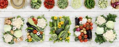 взгляд сверху овощей на деревянном столе кухни белом, знамени сети Стоковые Изображения