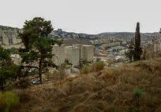 Взгляд сверху от холма на холодный зимний день, Иерусалима Стоковое Фото
