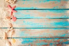 Взгляд сверху песка пляжа с раковинами, морскими звёздами Стоковое Изображение