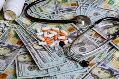 Взгляд сверху пилюлек и капсул на долларовых банкнотах как концепция медицинской промышленности стоковые изображения rf