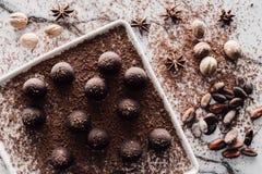 взгляд сверху плиты с трюфелями покрывая заскрежетанными шоколадом, бобами кака, анисовкой и мускатами стоковое фото