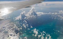 Взгляд сверху пляжа рая, Багамских островов Стоковые Изображения RF