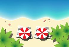 Взгляд сверху пляжа рая, горизонтальный вектор Стоковая Фотография
