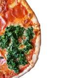 Взгляд сверху пополам пиццы стоковая фотография rf