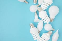 Взгляд сверху различных белых ламп Стоковое Изображение