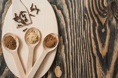 Взгляд сверху различных красочных трав и специй в ложке на деревенской коричневой деревянной предпосылке в концепции специи для з Стоковая Фотография RF