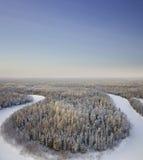 взгляд сверху реки пущи дня морозный Стоковое Изображение